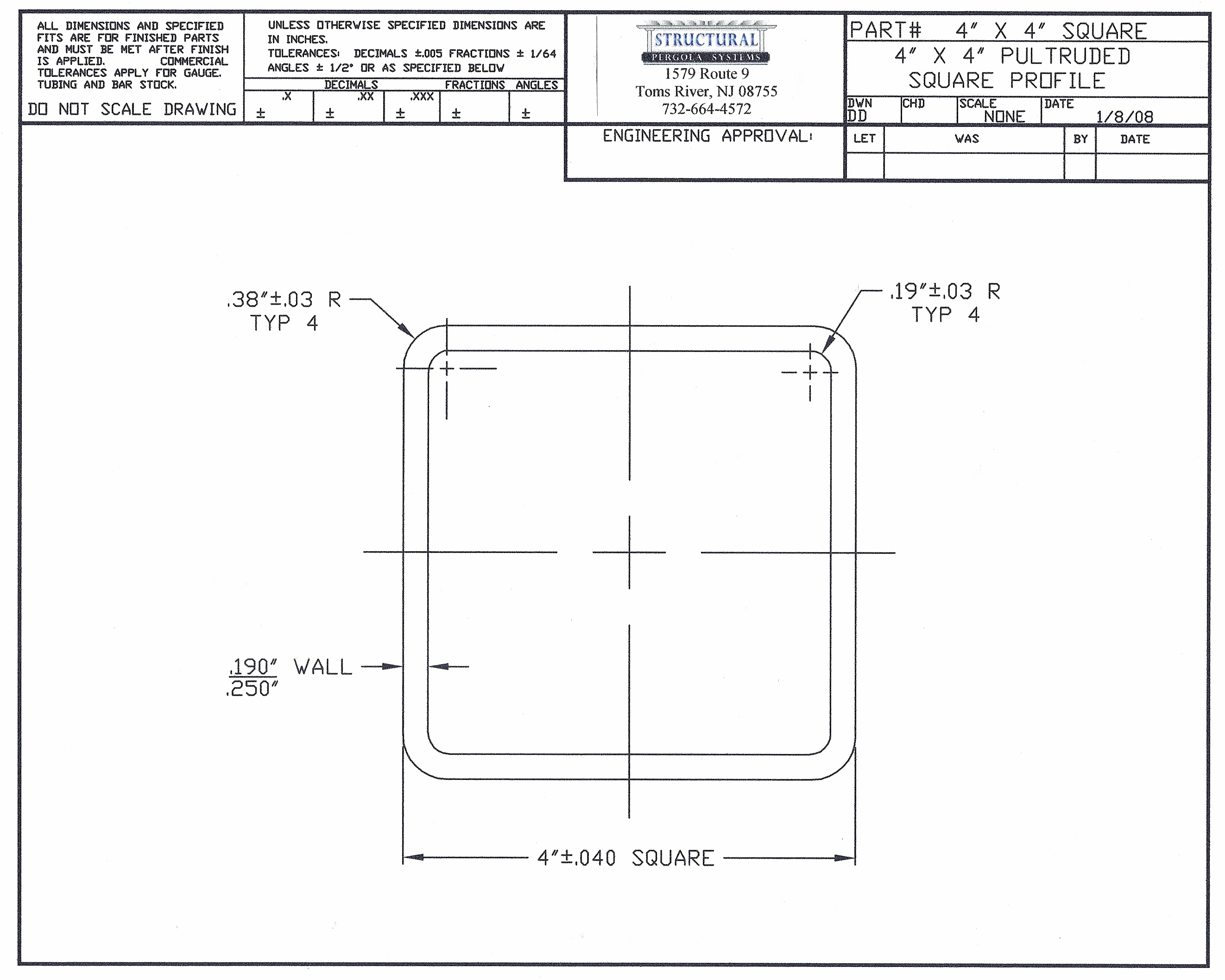 Specs Structural Pergola Systems
